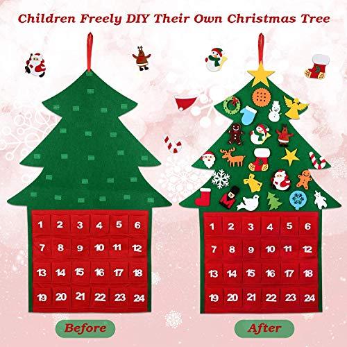 boogift Arbol de Navidad Fieltro,Calendario de Adviento de Navidad 24 días con Bolsillos para Decoraciones de Navidad Adornos Arbol Navidad Desmontables Año Nuevo Navidad Regalo para Niños