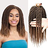 Havana Twist Crochet Hair 6 Packs Crochet Twists Jumbo Braid Crochet Hair 2X Jumbo Senegalese Twist Crochet Hair 12 Inch Jumbo Havana Twist Crochet Braids 12 Roots/Pack (12Inch, T1B/27)