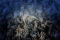 HD 7x5ftホラーハロウィーン墓地背景不気味な数千の頭蓋骨スケルトンゴーストボーン手写真の背景布ハロウィントリックオアトリートフォトスタジオの小道具