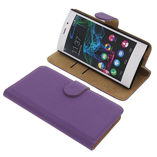 foto-kontor Tasche für Wiko Ridge Fab 4G Book Style lila Kreditkarte Schutz Hülle Buch