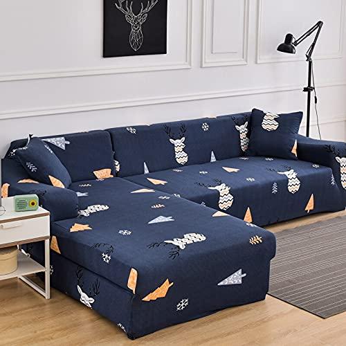 ASCV Elastische Sofabezüge für Wohnzimmer Stretchcouchbezug Sessel Schonbezug Funda Sofa Chaiselongue A13 4-Sitzer