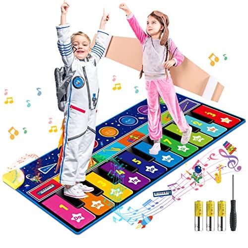 RenFox Tappetino per Pianoforte, Cielo Stellato Grande Tappeto Musicale, Tastiera Danza con 10 Tasti, 10 Canzoni e 8 Strumenti per Bambini, Giocattoli Educativi Regali per Compleanno Natale