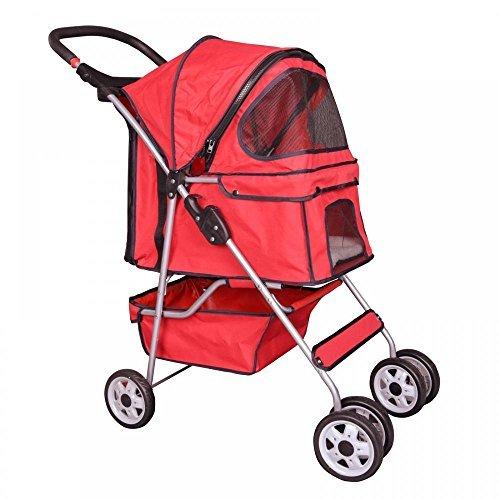 Red 4 Wheels Pet Stroller Cat Dog Cage Stroller Travel Folding Carrier 04T