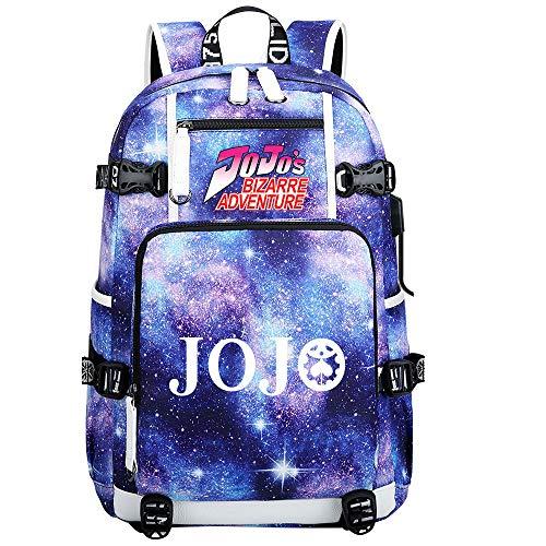 GOYING JoJo's Bizarre Adventure Jonathan Joestar/Joseph·Joestar Anime Backpacks Student School Bag Laptop Backpack with USB Charging Port-E