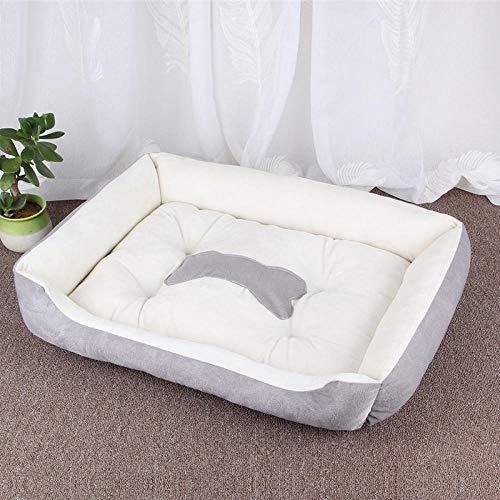 Cama para Perros de Felpa Suave y cálida Cama para Perros Cama para Dormir mullida sofá para Mascotas Perros pequeños y medianos de Varios tamaños -灰米色_60*45CM