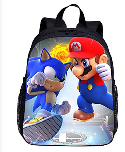 XINXIANG Super Mario shchool Bags Soft Nap Super Mario Mochila Bolsa de bebé Bolsa de Hombro Escolar Niño Niña Niños Adolescentes Lovely Pocket Monster Bag