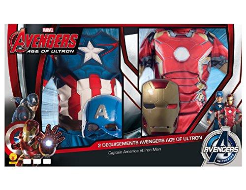 Rubie's-déguisement officiel - Marvel- Déguisement Pour Enfant Bi Pack Avengers 2 Iron Man + Captain America - Taille L- 155014L