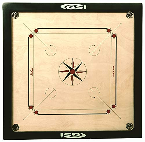 GSI Superior Matte Finish Full Practice Carrom Board for Serious Professional Practice with Coins Striker and Boric Powder, Beige...