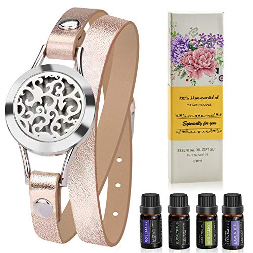 Aromatherapy Essential Oil Diffuser Bracelet Gift Set w/Rosemary, Lavender, Bergamot, Eucalyptus, 10ML/pcs, Unique Gift Ideas for Women, Girls, Friend, Mom at Anniversaries, Birthday and Christmas