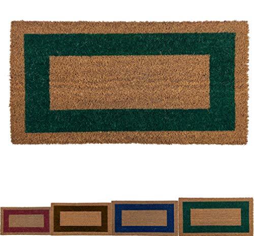 LucaHome - Felpudo de Coco Natural Cenefa de Colores con Base Antideslizante, Felpudo de Coco Liso Ideal para Interior y Exterior (Verde, 40 x 70 cm)