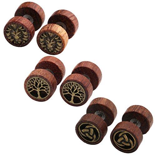 Zysta 4 Paare 1.2mm Sono Holz Ohrstecker Set Fake Herren Damen Ohrstecker Fake Tunnel Plug Cheater Illusion Baum des Lebens Tunnel Barbell Buchenholz Ebenholz Stud Ohrring Set (3 Paar)
