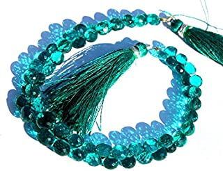 """Jewel Beads Natural Beautiful jewellery 6x8-7x5mm Teal Blue Quartz Faceted Onion Briolette 2"""" InchesCode:- JBB-16832"""