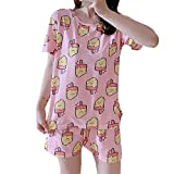 Ropa de Dormir Informal Suelta Conjunto de Pijamas de Verano Lindo para Mujeres Sudaderas y Pantalones Cortos
