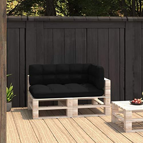 Tidyard Cojines para Sofás de Palés 3 Piezas Cojines para Palets Exterior Jardín Cojines Decorativos Negro