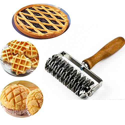 Stainless Steel Dough Lattice Top Cookie Pie Pizza Bread Pastry Crust Roller Cutter,Wood Handle