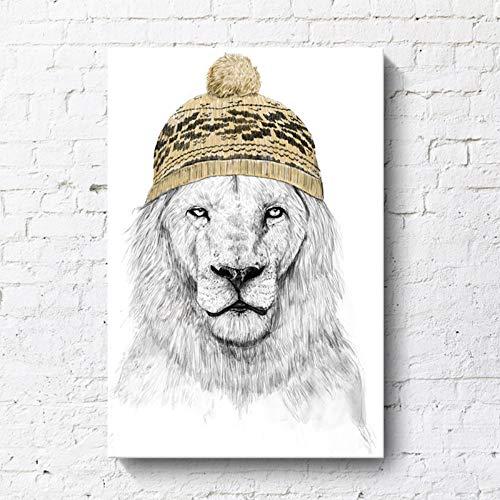 NBHHDH canvas afbeelding, lieve leeuw een hoed dragen, het dier decoratief schilderen, poster afdrukken huisinrichting geen lijst, voor woonkamer, hal, slaapkamer, hotel, villa, cafe, kinderkamer 20×30cm