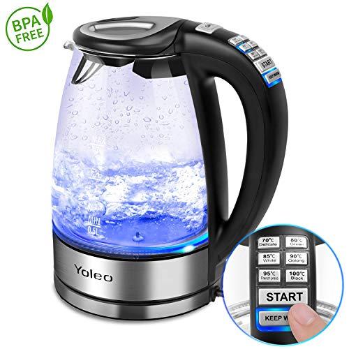 Wasserkocher Glas mit Temperatureinstellung Yoleo elektrischer Wasserkocher aus Glas Edelstahl Teekocher Warmhaltefunktion 70/80/85/90/95/100 Grad 1,7L, 2000W, BPA Frei, LED, Kalkfilter, Glas Silber