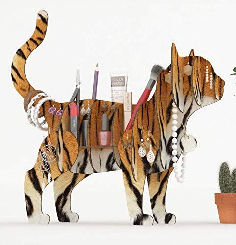 TIGER KATZE 3D Puzzle Organizer aus recyceltem Karton. Stehen oder Regal in Form einer Katze in einem Tiger Kostüm. Schreibtischidee, Schmuckhalter, Stifte oder Pflanzen, Make-up-Veranstalter