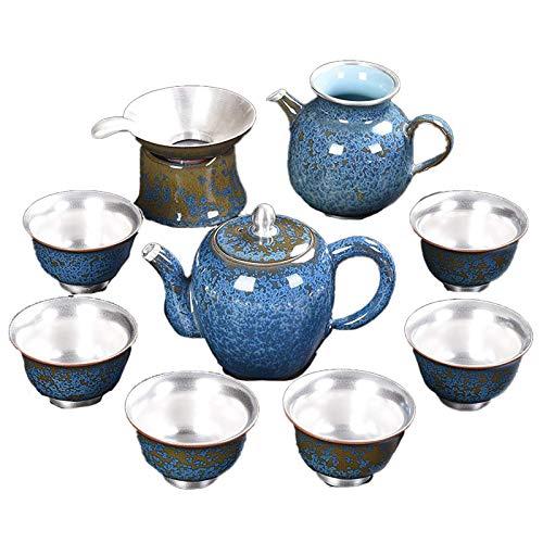 Tetera de Plata Juego de Ceremonia del té de Plata Cosas Agua Caliente Café Hecho a Mano Vajilla China Vajilla de té Tetera para Fiestas Adultos (Color: 6, Tamaño: Gratis)