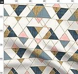 Dreiecke, Geometrisch, Blau, Rosa, Gold Stoffe -