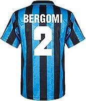 Score Draw Inter Milan Home Bergomi 2 Retro Shirt 1991-1992 (Retro Flock Printing)