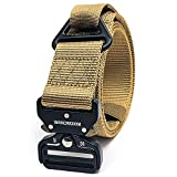 Winchester Tactical Rigger Belt, Nylon Webbing Waist Belt with V Ring Heavy Duty Quick Release Buckle, Lima Khaki, M