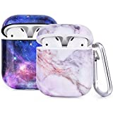 Airpod Cases, 2 Pack Protective Airpods Hard Cover Marble CAGOS Compatible with Apple