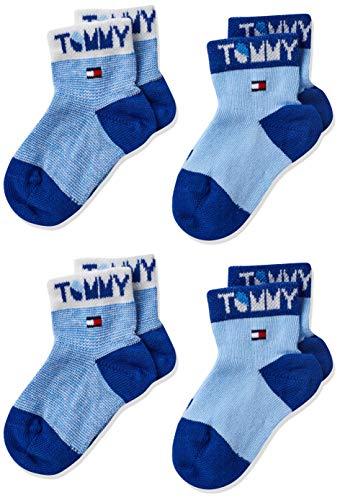 Tommy Hilfiger Tommy Wording Baby Socks (2 Pack) Calzini, Combo Blu, 19/22 Bimbo