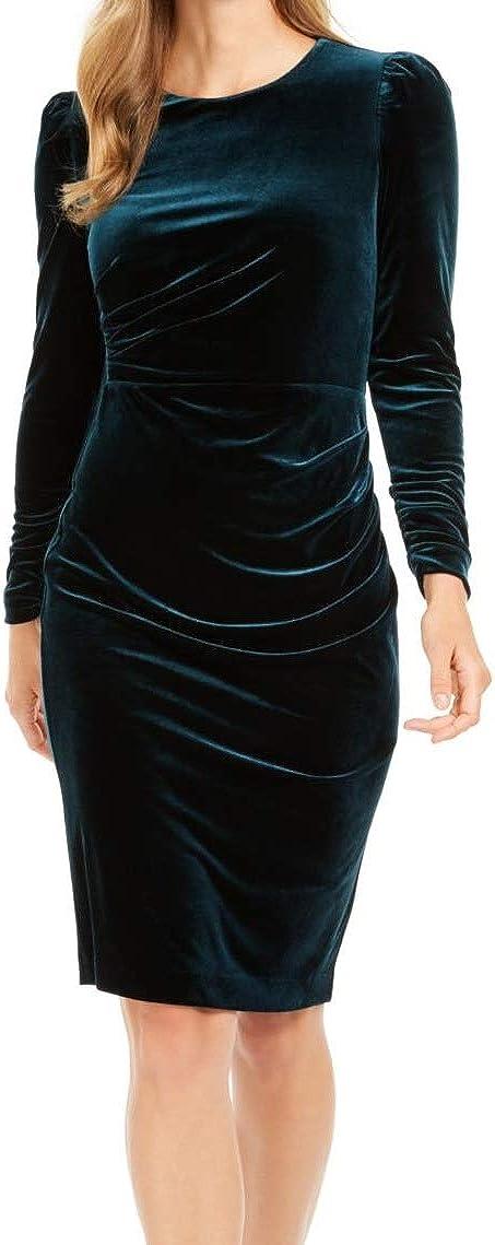 Calvin Klein Women's Long High quality 2021 autumn and winter new new Sleeve Sheath Velvet Draping Deta with