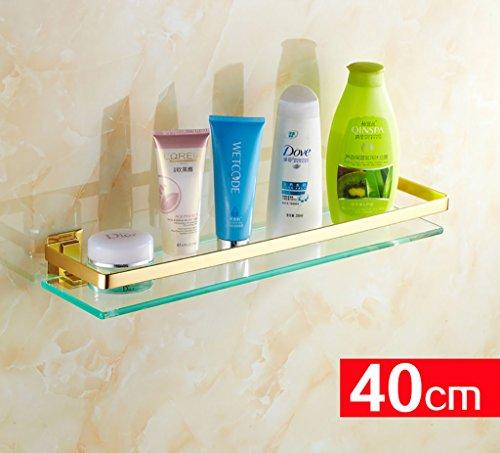 Badezimmer-Regal-europäisches Gold Badezimmer-Regal-Glas-Regal Badezimmer-Glas-Regal mit Handtuchstange an der Wand befestigten Podium (Color : 60CM)
