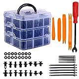 Remaches Plastico Clips de coche y clip de remache de guardabarros de plástico sujetador, (660 PCS orange)