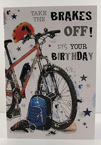 Geburtstagskarte für Männer, JJ-GR202, Mountainbike, aus der Graffix-Reihe, geprägt und mit Folie überzogen