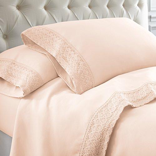 Amrapur Overseas 4-Piece Crochet Lace Bed Sheet Set, Queen, Blush