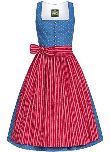 Hammerschmid Damen Trachten-Mode Midi Dirndl Chiemsee in Blau traditionell, Größe:42, Farbe:Blau