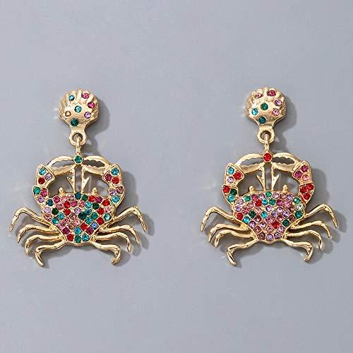 FEARRIN Pendientes Joyas de Moda Pendientes Colgantes de Cangrejo Bohemio para Mujer Colorido Diamante de imitación Shell Hueco Geométrico Accesorios de joyería de Verano Oro