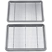 """Checkered Chef Baking Sheet And Cooling Rack Set Twin Pack - 2 Rimmed Aluminum Baking Pans 16.5 x 11.5"""" With 2 Stainless Steel Baking Racks 15 x 10"""""""