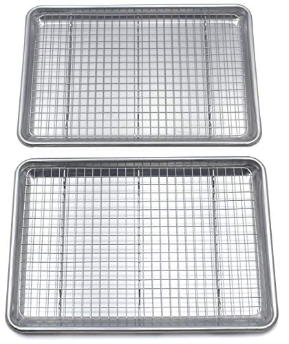 """Checkered Chef Baking Sheet And Cooling Rack Set Twin Pack  2 Rimmed Aluminum Baking Pans 165 x 115"""" With 2 Stainless Steel Baking Racks 15 x 10"""""""
