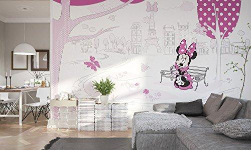 Komar 023-DVD4 Disney Vlies Fototapete Minnie in Paris, Größe 400 x 250 cm (Breite x Höhe), 4 Bahnen, inklusive Kleister, Bunt
