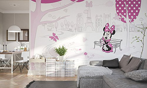 Komar - Disney - Fleece Muurafbeelding MINNIE IN PARIS - 400x250cm - Behang, muurdecoratie, Minnie Mouse, Strik -023-DVD4