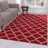Ottomanson Trellis Area Rug, 5'3'X7', Dark Red