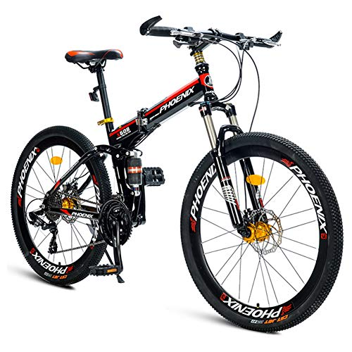 NENGGE Opvouwbare mountainbikes, 21-Speed Dual Suspension Alpine fiets, Dual Disc Brake Koolstofstaal Frame Anti-Slip Bikes, Kids Heren Dames Fiets