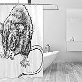 Duschvorhänge Graue Mäuse Skizze Kleine Ratte Duschvorhang Set mit 12 Haken Aquarell DekorativerBadvorhangModernes BadezimmerzubehörMaschinenwaschbar 70x70