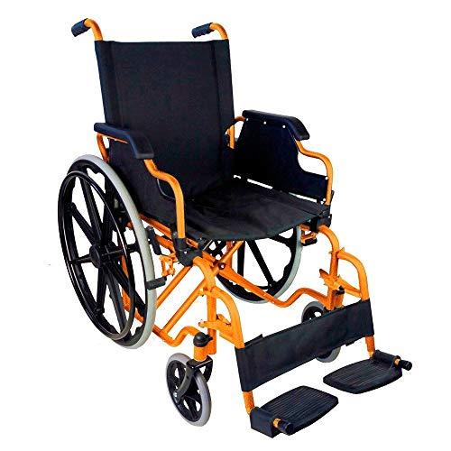 Mobiclinic, Faltrollstuhl, Giralda, Europäische Marke, Rollstuhl für Ältere und Behinderte, Klapparmlehnen und abnehmbare Fußstützen, selbstfahrend, Leichtgewicht, Schwarz-Orange, Sitzbreite 43 cm