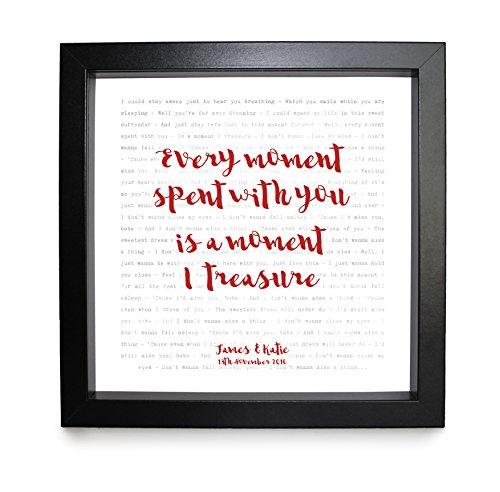 Aerosmith, I Don 't want to miss a thing (armagedón banda sonora)–Tipografía letras de canciones impresión enmarcada & boda–aniversario de San Valentín Regalo perfecto para él, ella, par