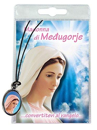 Ferrari & Arrighetti Medalla Virgen de Medjugorje con cordón y oración en italiano