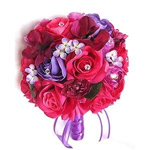 "Wedding bouquets Bridal Silk Flowers D.PINK FUCHSIA BEGONIA Purple 17 piece package wedding Bouquet centerpiece flower arrangements ""RosesandDreams"""