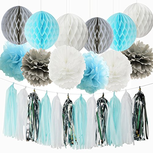 Qian S Party Baby Boy Baby Shower Decorations Baby Shower Backdrop Blue White Grey First Birthday Boy Decorations Tissue Paper Pom Pom Tassel Garland Honeycomb Balls Elephant Birthday Decorations Boy Wantitall