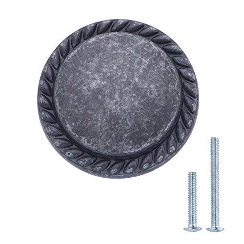AmazonBasics - Schubladenknopf, Möbelgriff, gemusterter Rand, rund, Durchmesser: 3,17 cm, Antik-Silber, 10er-Pack