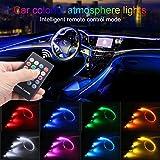 TABEN Luce Ambientale per Auto Telecomando RGB Lampada con Luce Decorativa Fai da Te Refit Tubo in Fibra Ottica Flessibile 8 Colori Illuminazione Interna Atmosfera Luce 1W DC 12V 3m
