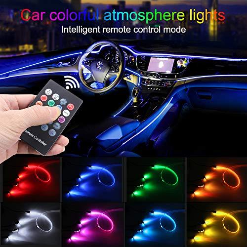 TABEN Auto Umgebungslicht RGB Fernbedienung Dekorative Lampe DIY Refit Flexibles Glasfaserrohr 8 Farben Innenbeleuchtung Atmosphärenlicht 1W DC 12V 3m